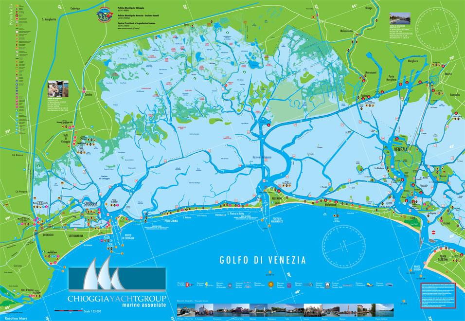 Cartina Laguna Di Venezia.Mappa Laguna Veneta Venezia Chioggia Pellestrina Malamocco Canali Navigazione Limiti Vela Veneta