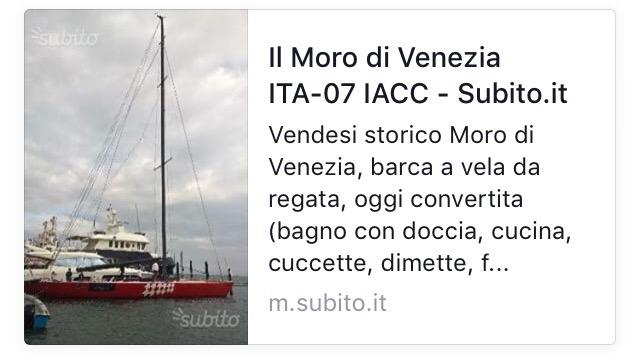 Il moro di Venezia in vendita, l'annuncio apparso nel web