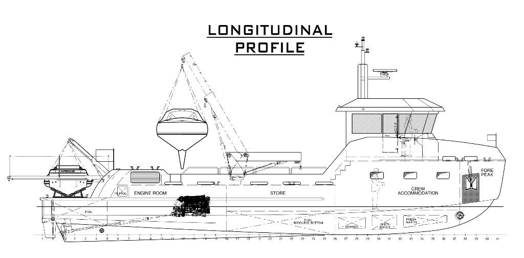 YXT annuncia costruzione del Yxt 20m support vessel longitudinasl profile